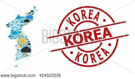 Weather Collage Map Of Korea, And Textured Red Round Badge. Geographic Vector Collage Map Of Korea I