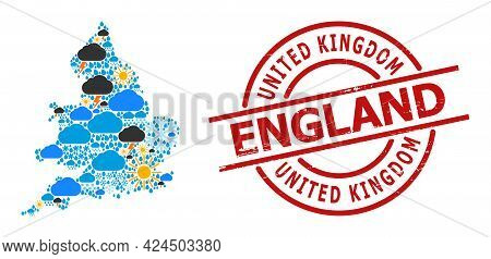 Weather Collage Map Of England, And Distress Red Round Badge. Geographic Vector Collage Map Of Engla