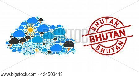 Weather Mosaic Map Of Bhutan, And Distress Red Round Stamp. Geographic Vector Mosaic Map Of Bhutan I