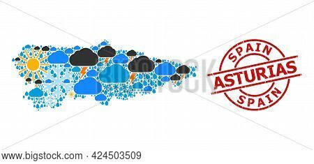 Climate Collage Map Of Asturias Province, And Distress Red Round Badge. Geographic Vector Mosaic Map