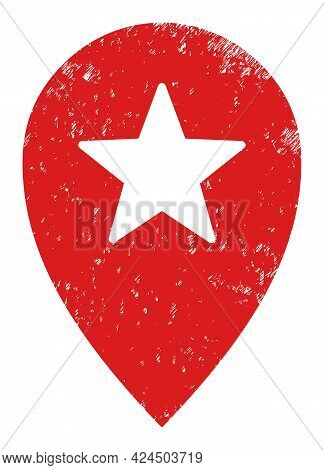 Star Place Marker Icon With Scratched Style. Isolated Vector Star Place Marker Icon Image With Scrat