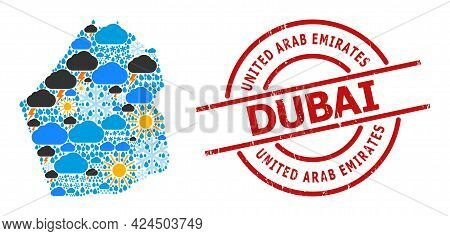 Weather Collage Map Of Dubai Emirate, And Scratched Red Round Stamp Seal. Geographic Vector Collage