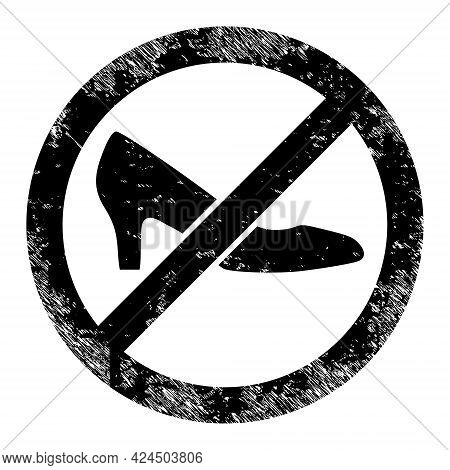 Forbidden Shoes Icon With Scratched Effect. Isolated Vector Forbidden Shoes Icon Image With Grunge R