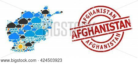 Weather Mosaic Map Of Afghanistan, And Textured Red Round Seal. Geographic Vector Mosaic Map Of Afgh