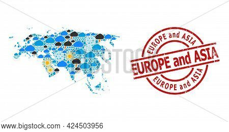 Climate Mosaic Map Of Europe And Asia, And Grunge Red Round Badge. Geographic Vector Mosaic Map Of E