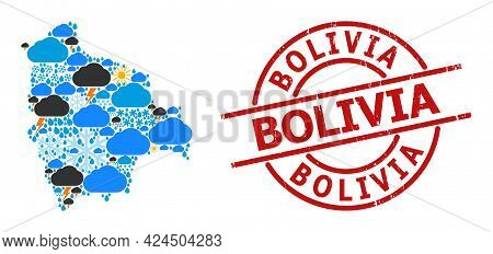 Climate Pattern Map Of Bolivia, And Scratched Red Round Badge. Geographic Vector Composition Map Of