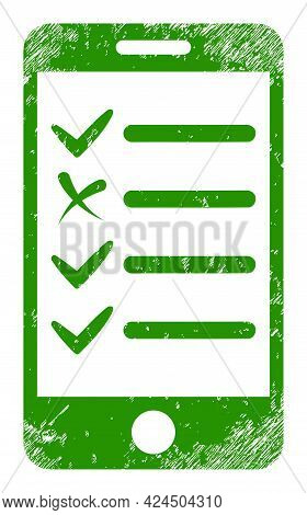 Mobile Check List Icon With Scratched Effect. Isolated Vector Mobile Check List Icon Image With Uncl