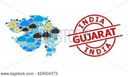 Weather Mosaic Map Of Gujarat State, And Textured Red Round Seal. Geographic Vector Mosaic Map Of Gu