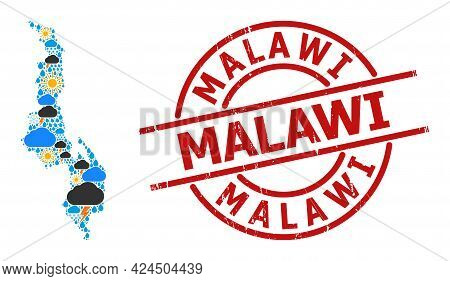 Weather Collage Map Of Malawi, And Grunge Red Round Seal. Geographic Vector Collage Map Of Malawi Is
