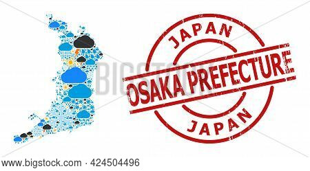 Climate Mosaic Map Of Osaka Prefecture, And Grunge Red Round Stamp Seal. Geographic Vector Mosaic Ma