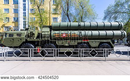 Samara, Russia - May 6, 2021: Russian Anti-aircraft Missile System (sam) S-400 Triumph On The City S