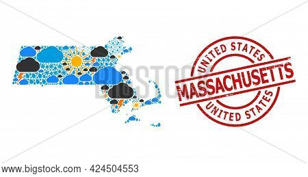 Climate Collage Map Of Massachusetts State, And Distress Red Round Seal. Geographic Vector Collage M