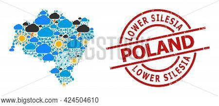 Weather Collage Map Of Lower Silesia Province, And Grunge Red Round Stamp Seal. Geographic Vector Co