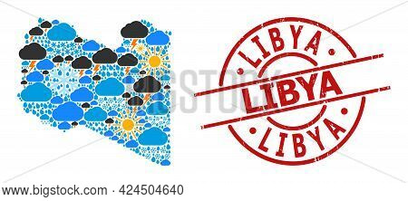Weather Mosaic Map Of Libya, And Rubber Red Round Stamp Seal. Geographic Vector Mosaic Map Of Libya