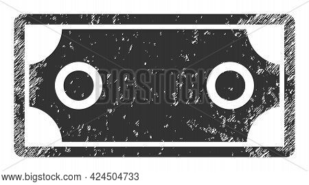 Banknote Template Icon With Scratched Effect. Isolated Vector Banknote Template Icon Image With Grun