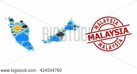 Weather Collage Map Of Malaysia, And Textured Red Round Stamp. Geographic Vector Mosaic Map Of Malay