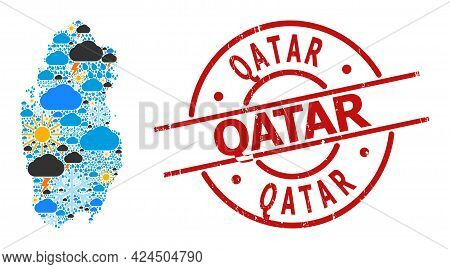 Weather Collage Map Of Qatar, And Grunge Red Round Badge. Geographic Vector Collage Map Of Qatar Is