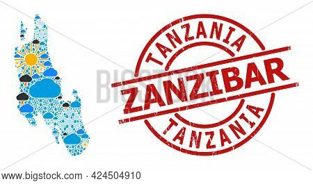 Weather Mosaic Map Of Zanzibar Island, And Textured Red Round Badge. Geographic Vector Mosaic Map Of