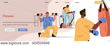 Fitness Training Web Concept. Men And Women Exercising In Gym, Healthy Lifestyle Scene. Banner Templ