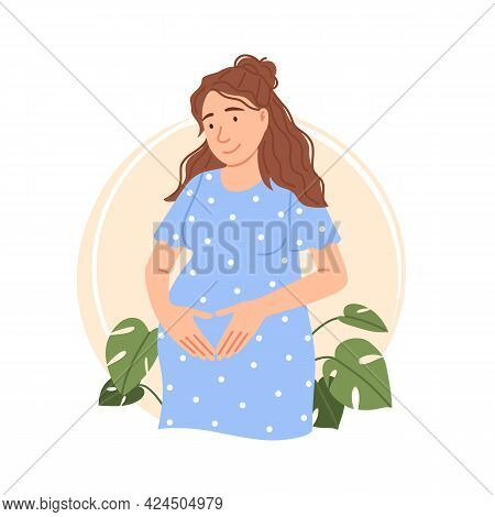 Flat Pregnant Woman Isolated Portrait. Caucasian Pretty Expectant Lady Touching Belly. Young Smiling