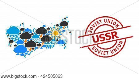 Weather Mosaic Map Of Ussr, And Scratched Red Round Stamp. Geographic Vector Mosaic Map Of Ussr Is C