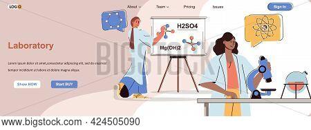 Laboratory Web Concept. Scientists Make Scientific Experiments, Study In Microscope Scene. Banner Te