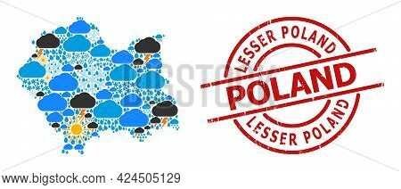 Weather Mosaic Map Of Lesser Poland Province, And Distress Red Round Badge. Geographic Vector Mosaic