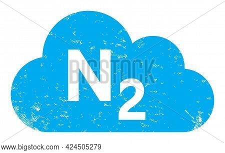 Nitrogen Gas Icon With Scratched Effect. Isolated Vector Nitrogen Gas Icon Image With Distress Rubbe