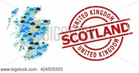 Weather Mosaic Map Of Scotland, And Distress Red Round Badge. Geographic Vector Collage Map Of Scotl
