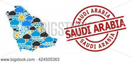 Climate Collage Map Of Saudi Arabia, And Textured Red Round Stamp. Geographic Vector Concept Map Of