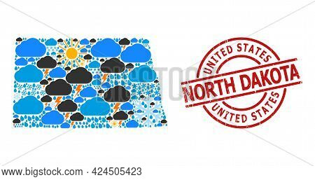 Climate Collage Map Of North Dakota State, And Distress Red Round Stamp. Geographic Vector Collage M