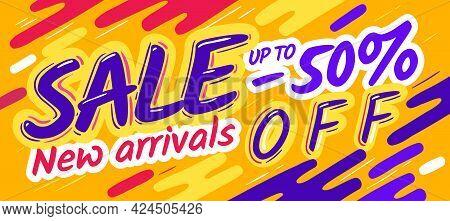 Cartoon Sale Banner Poster. Vector Yellow Template Flyer, Discount Sale Coupon Concept. Vector
