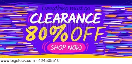 Clearance Sale Banner Template. Web Promotion Concept Flyer. Purple Discount Poster. Cartoon Vector