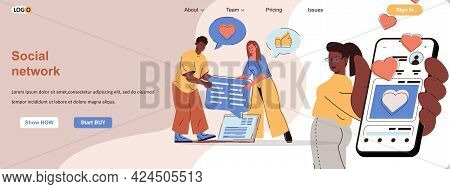 Social Network Web Concept. Users Communicate Online, Share And Comment On Posts Scene. Banner Templ