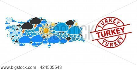 Climate Collage Map Of Turkey, And Grunge Red Round Badge. Geographic Vector Collage Map Of Turkey I