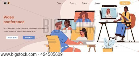 Video Conference Web Concept. Online Communication Of Friends, Business Meeting Scene. Banner Templa