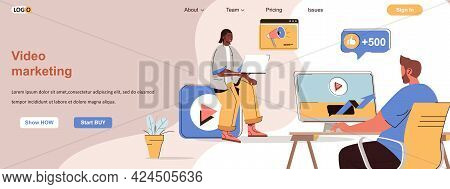 Video Marketing Web Concept. Successful Online Promotion Strategy With Video Blog Scene. Banner Temp
