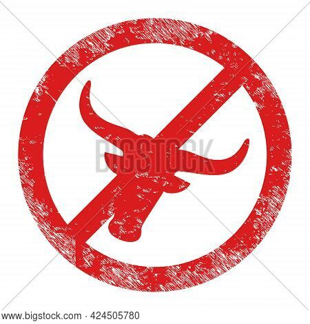 No Beef Meat Icon With Scratched Effect. Isolated Vector No Beef Meat Icon Image With Scratched Rubb