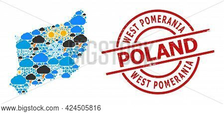 Weather Pattern Map Of West Pomerania Province, And Distress Red Round Stamp. Geographic Vector Comp