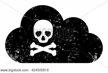 Toxic Gas Icon With Scratched Style. Isolated Vector Toxic Gas Symbol With Scratched Rubber Texture