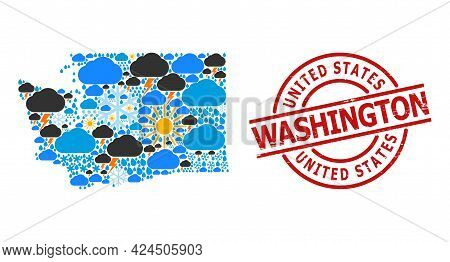 Weather Mosaic Map Of Washington State, And Distress Red Round Stamp. Geographic Vector Mosaic Map O