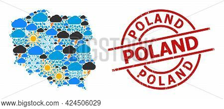 Climate Pattern Map Of Poland, And Scratched Red Round Stamp. Geographic Vector Concept Map Of Polan