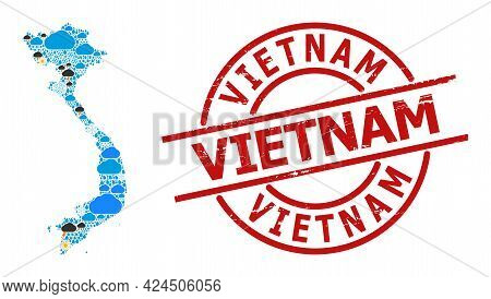 Weather Mosaic Map Of Vietnam, And Grunge Red Round Badge. Geographic Vector Composition Map Of Viet