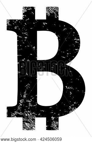 Bitcoin Symbol Icon With Scratched Effect. Isolated Vector Bitcoin Symbol Pictogram With Scratched R