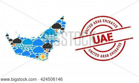 Climate Mosaic Map Of United Arab Emirates, And Textured Red Round Stamp. Geographic Vector Mosaic M