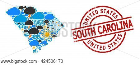 Climate Collage Map Of South Carolina State, And Rubber Red Round Stamp. Geographic Vector Collage M