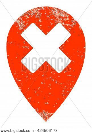 Wrong Place Icon With Grunge Effect. Isolated Vector Wrong Place Icon Image With Grunge Rubber Textu