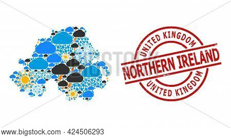 Weather Mosaic Map Of Northern Ireland, And Grunge Red Round Stamp Seal. Geographic Vector Mosaic Ma