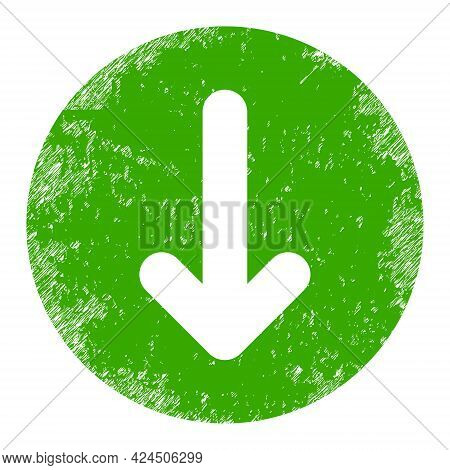 Down Direction Icon With Scratched Effect. Isolated Vector Down Direction Icon Image With Scratched