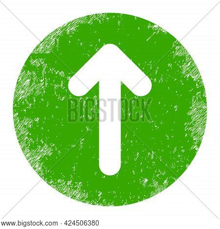 Up Direction Icon With Scratched Effect. Isolated Vector Up Direction Symbol With Scratched Rubber T